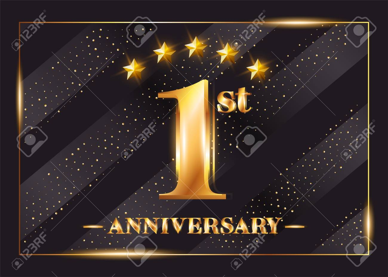 1 Year Anniversary Celebration Vector Logo 1st Anniversary Gold