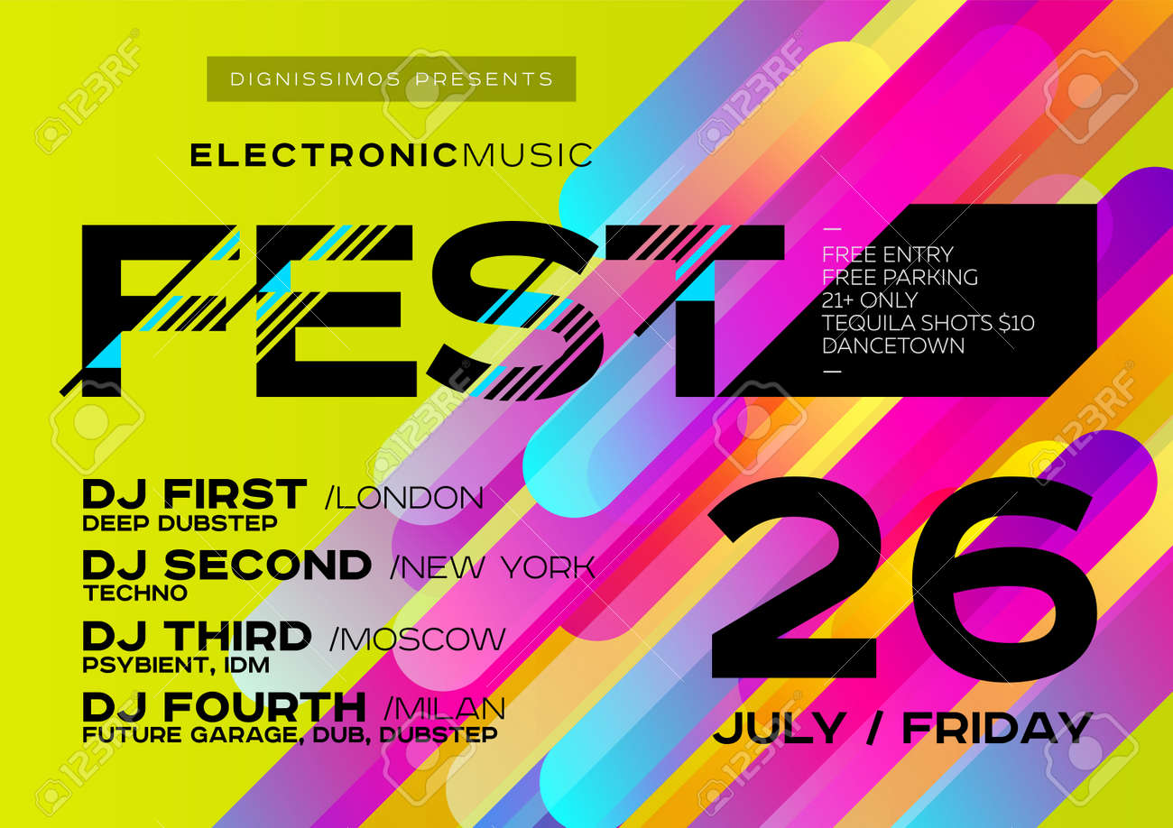 Electronic Music Cover For Summer Fest Or Club Party Flyer