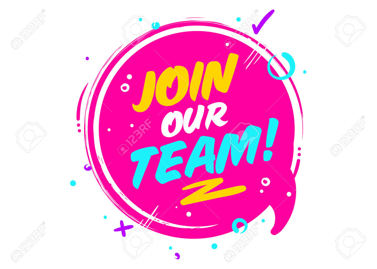 Join Our Team phrase on pink Rounded Sign with Geometric Elements. - 95139170