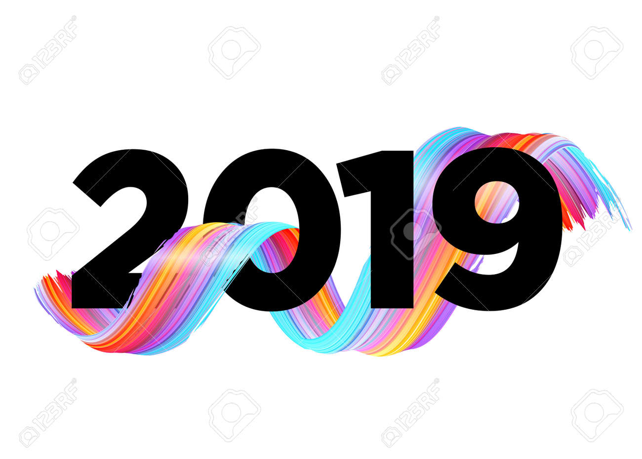 2019 happy new year logo design vector background with abstract splash shape colorful illustration