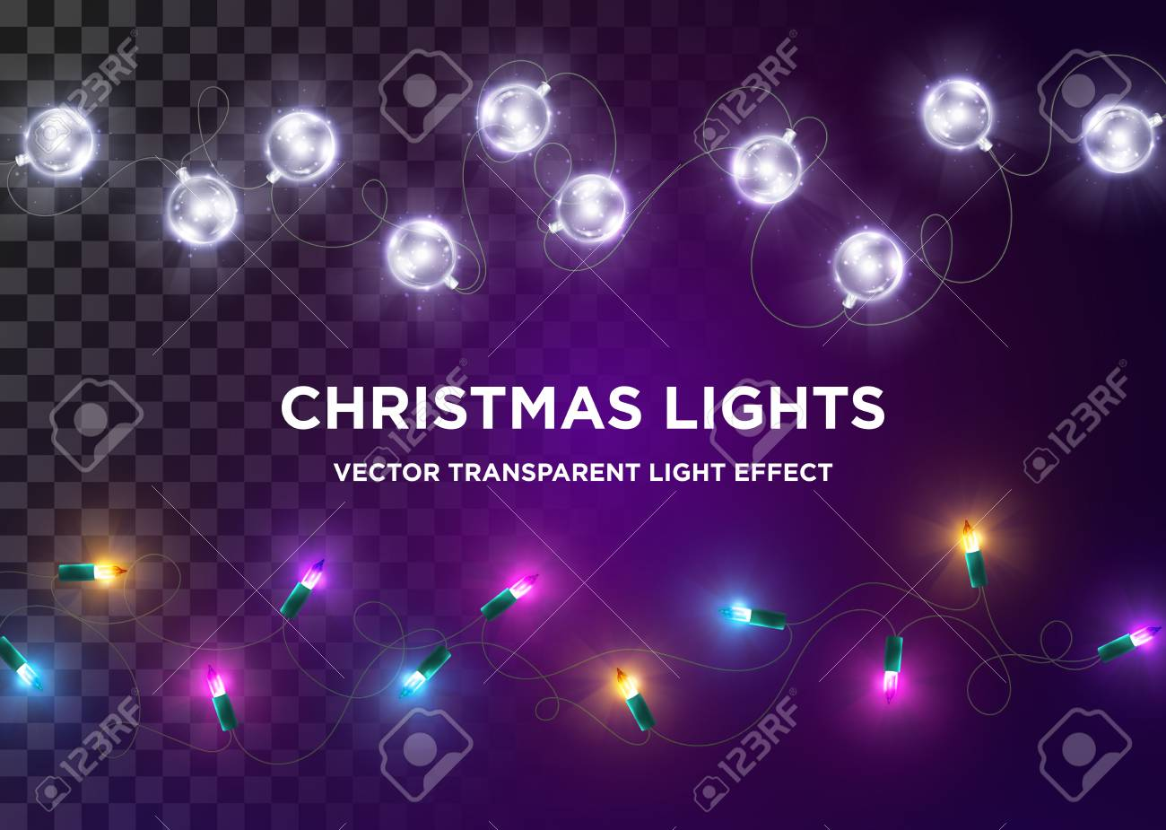 Led Christmas Lights Colors.Vector Vintage Christmas Lights Set Of Multi Colored Xmas Lights