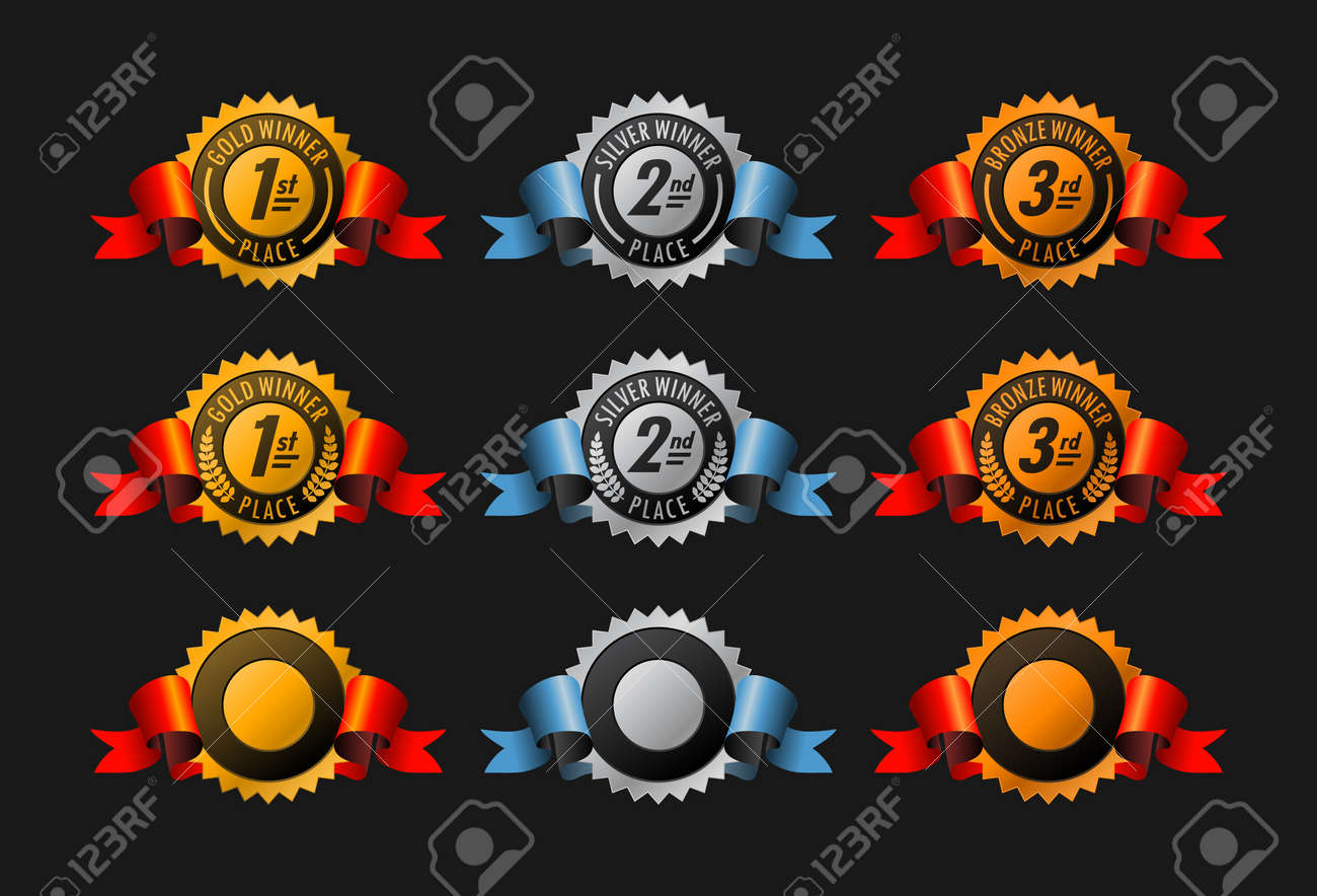 Gold, silver and bronze winning medals Stock Vector - 9011560