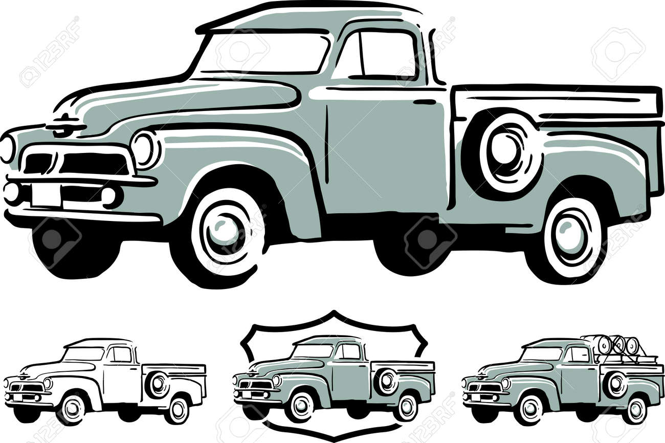 Illustration Of Vintage Pick Up Truck Royalty Free Cliparts, Vectors ...
