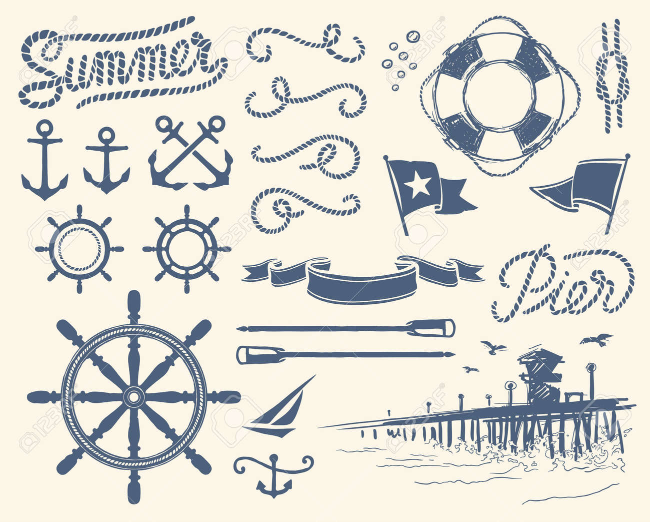 Vintage nautical set  anchor  Vintage Anchor Drawing