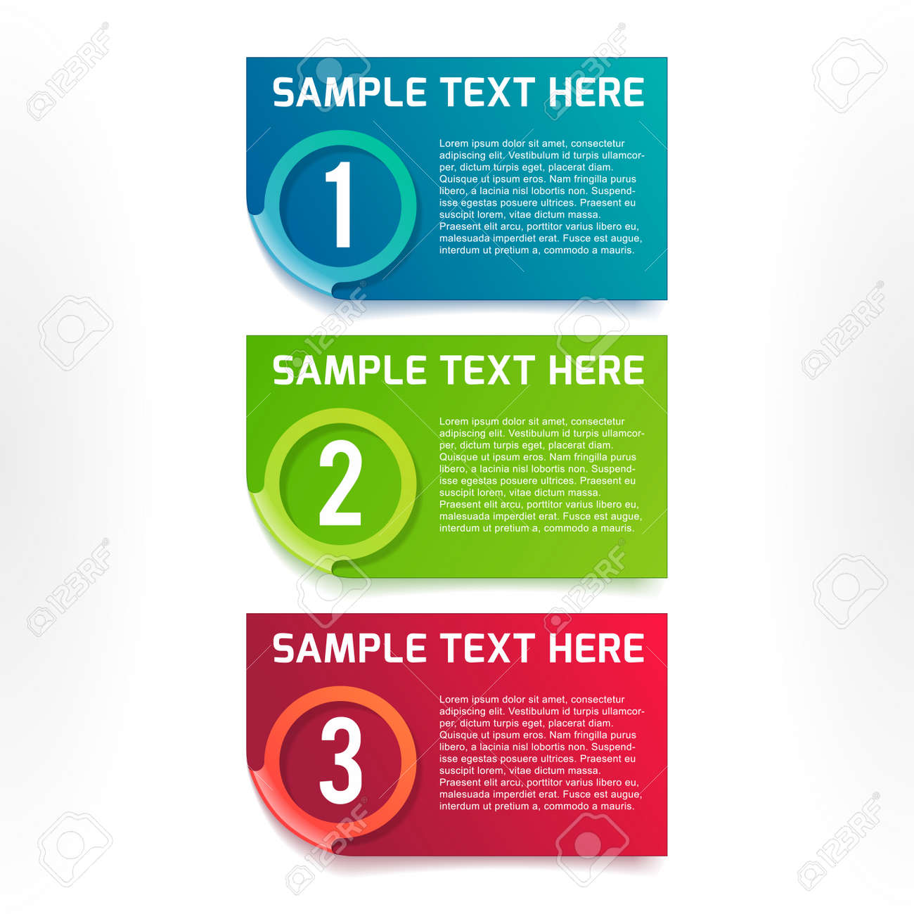One, two, three vector colorful option banners Stock Vector - 23296144