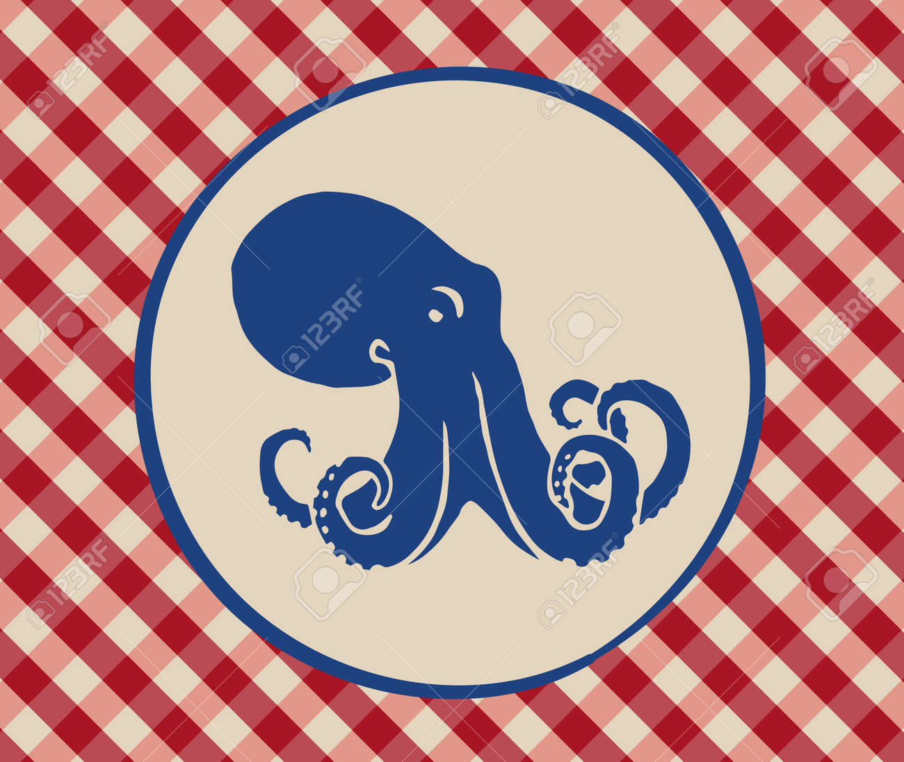 Vintage Illustration Of Octopus Over Italian Tablecloth Background Stock  Vector   42447080