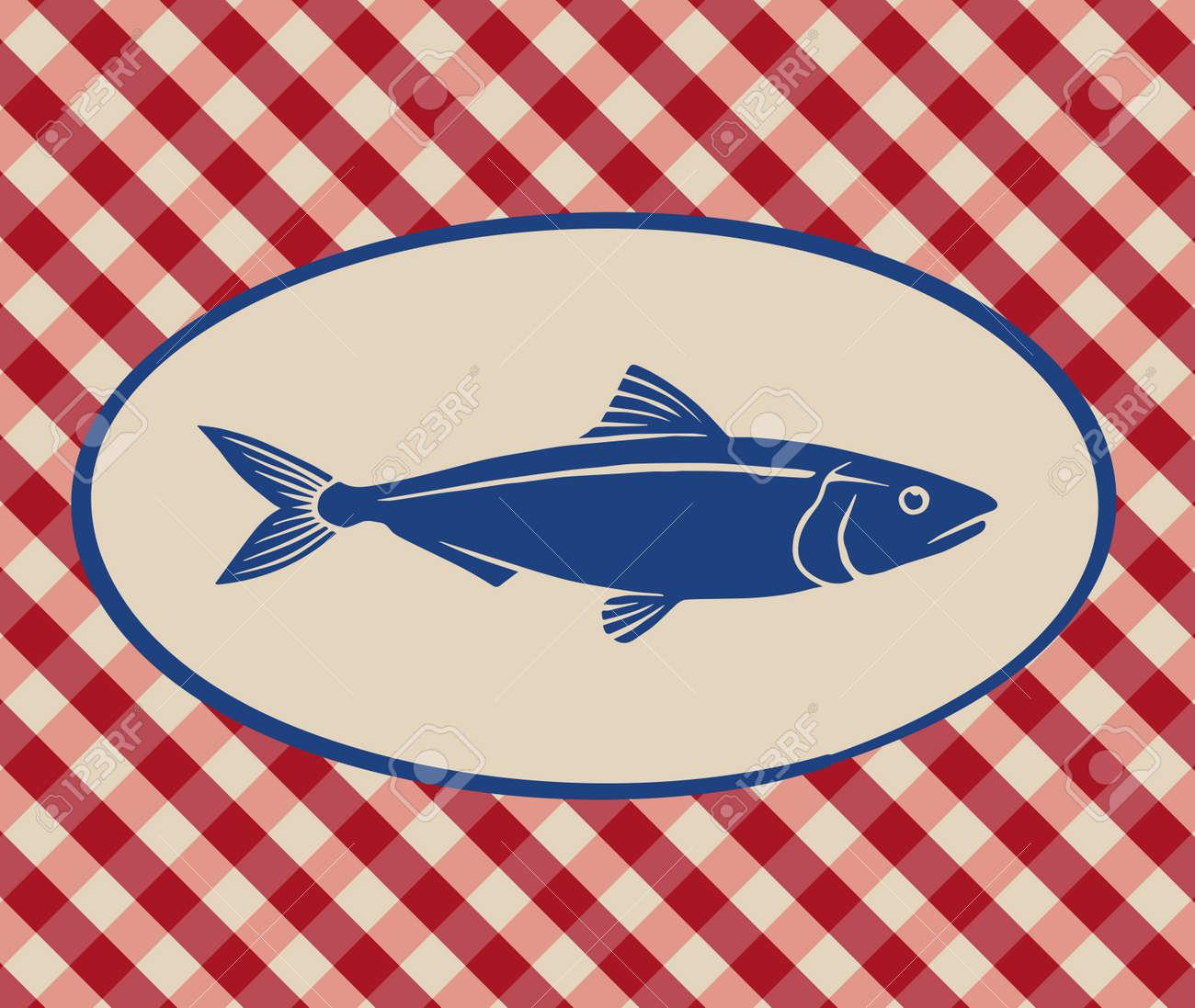 Superb Vintage Illustration Of Sardine Over Italian Tablecloth Background Stock  Vector   42447220