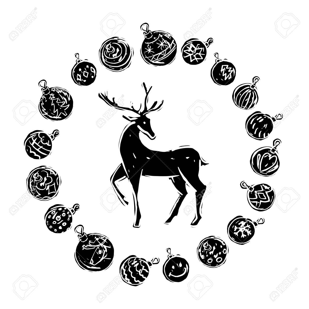 Décorations De Noël Avec Rennes Noir Et Blanc Sur Fond Blanc