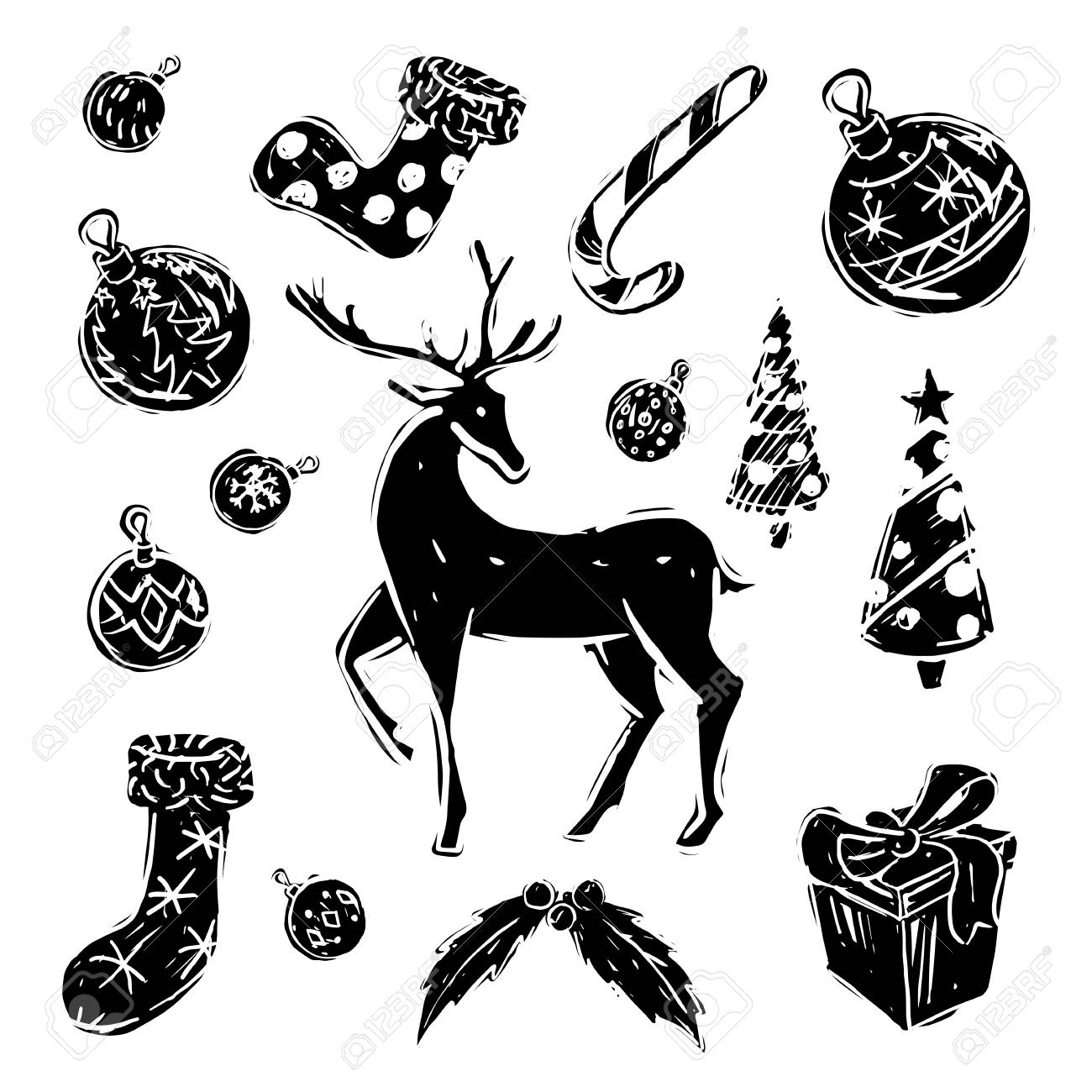 Jeu De Noël Noir Et Blanc Sur Fond Blanc