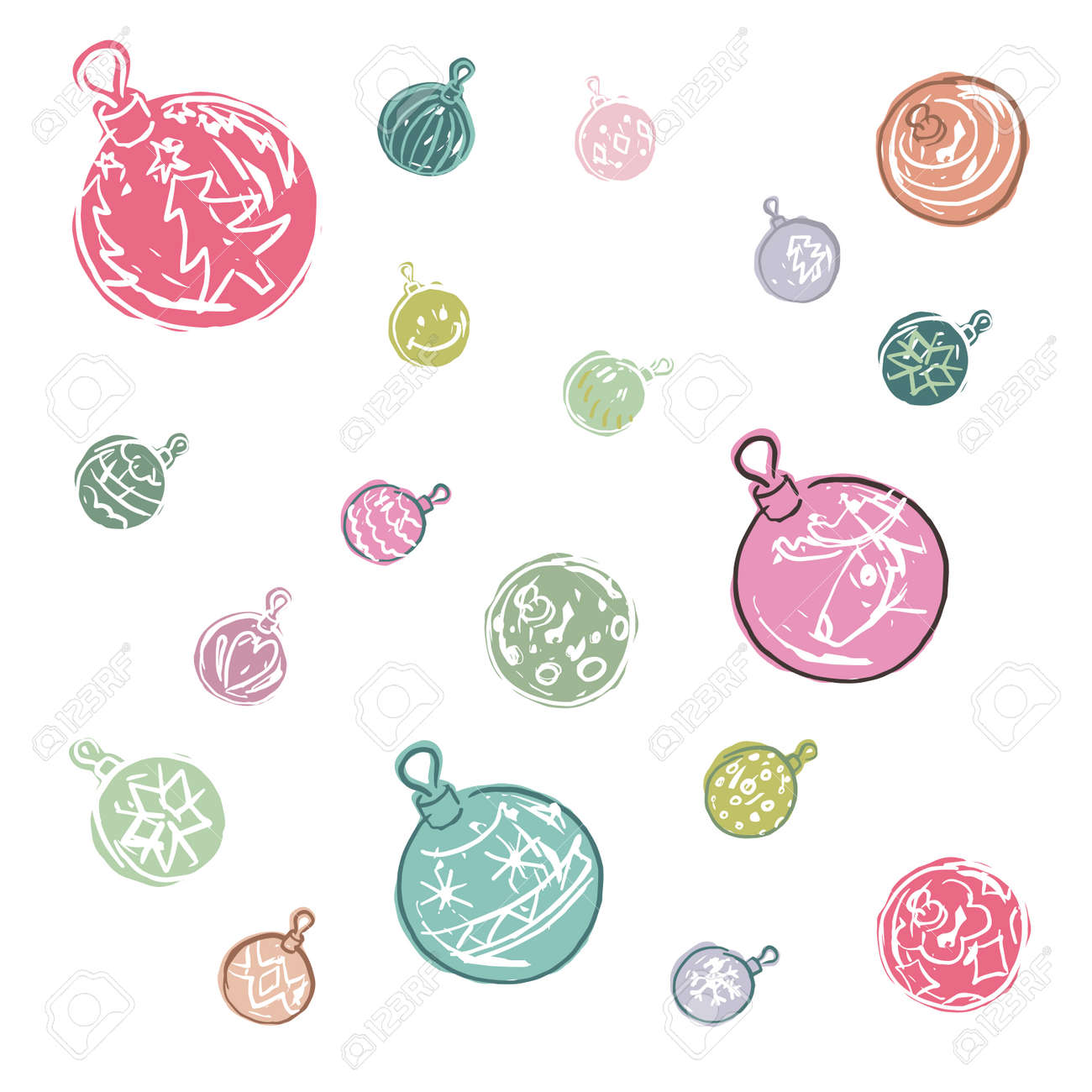 Decorations De Boule De Noel De Couleur De Dessin Anime Clip Art