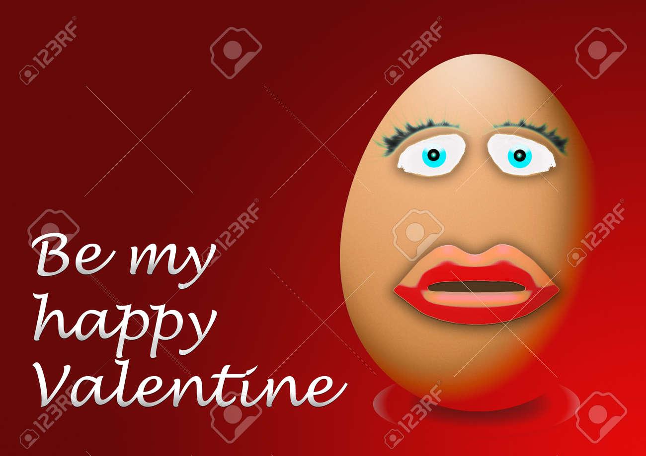 Glucklicher Valentinstag Lustig Ei Gesicht Lizenzfreie Fotos Bilder
