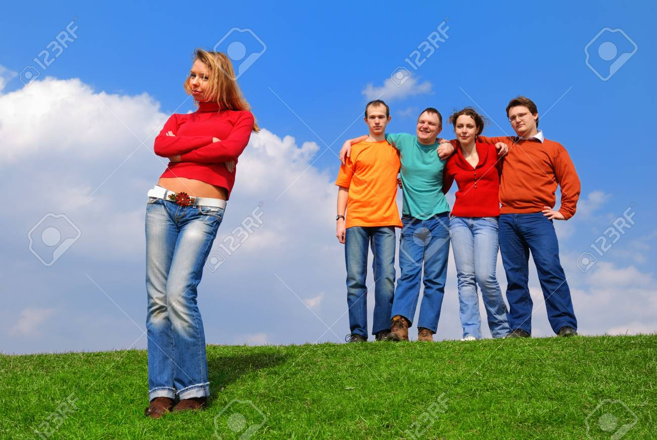 Group of people against blue sky Stock Photo - 867165