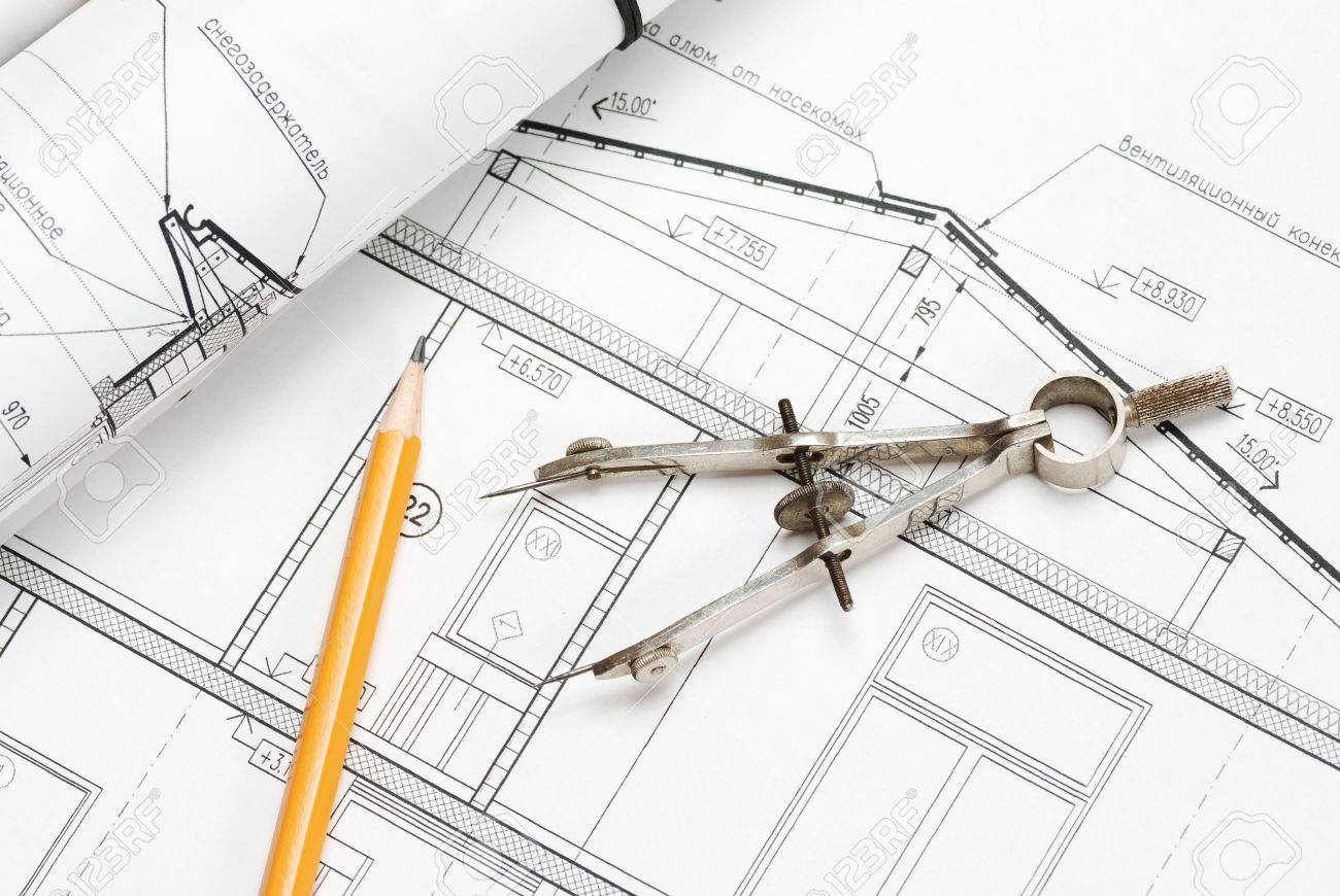 Tools Over House Plan Blueprints Stock Photo  Picture And Royalty    Stock Photo   Tools over house plan blueprints