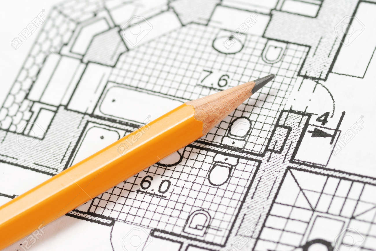 Pencil over house plan blueprints Standard-Bild - 2607605
