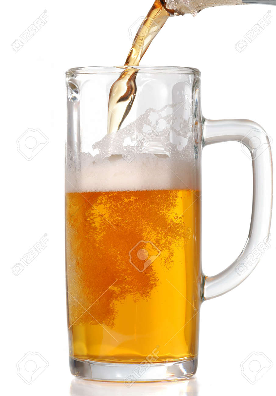 Beer mug isolated on white. Pouring beer in it. Stock Photo - 2679385