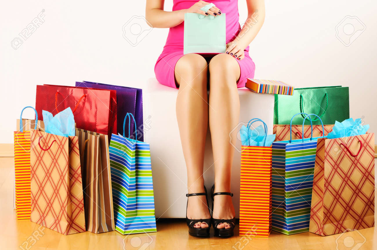 Woman's legs and shopping bags Stock Photo - 9120889