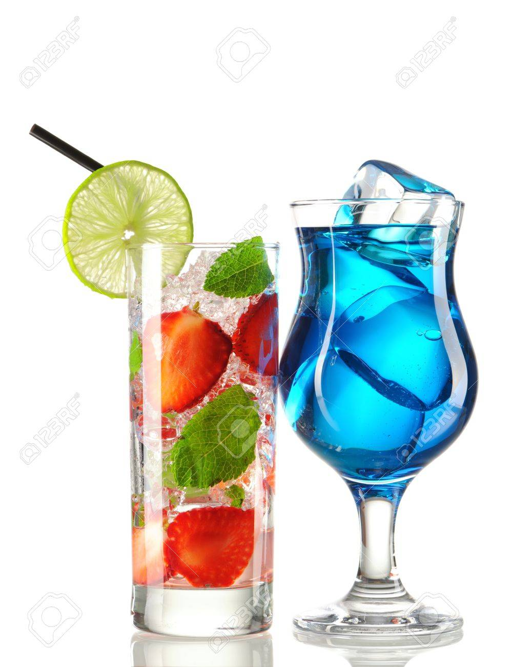 Strawberry mojito and Blue Curacao cocktails isolated on white Stock Photo - 9954064