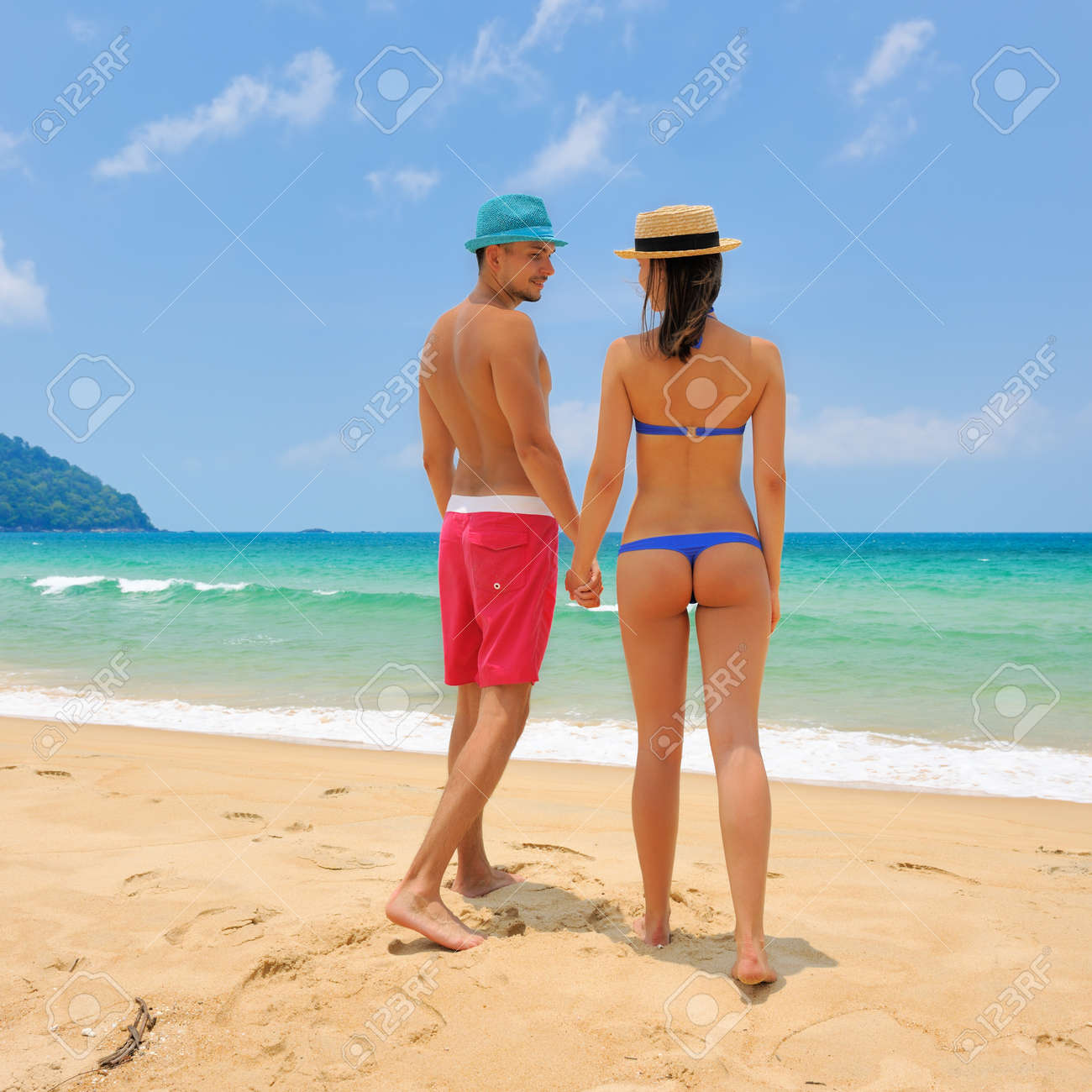 Couple On A Tropical Beach Stock Photo