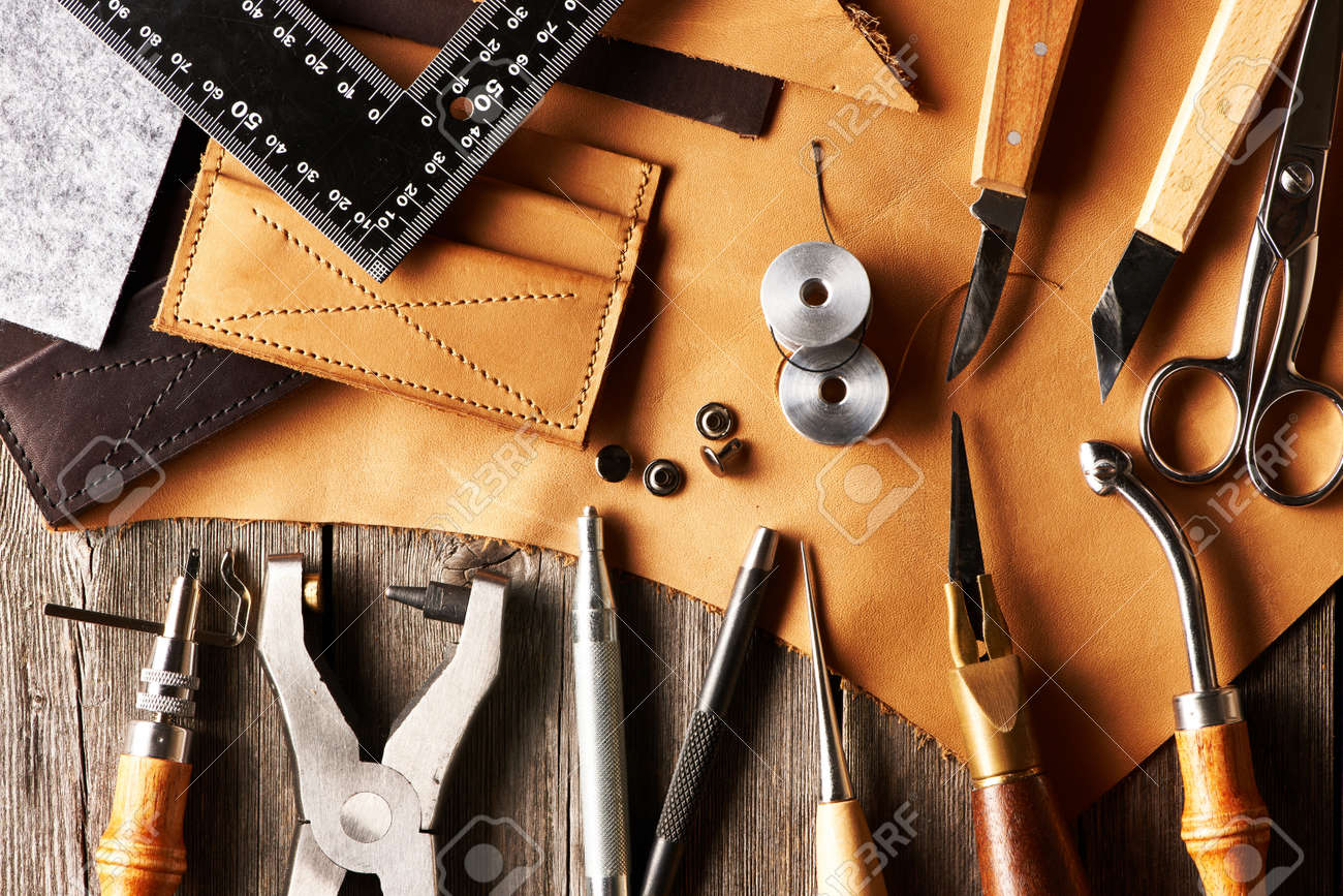 Leather crafting tools still life - 20603672