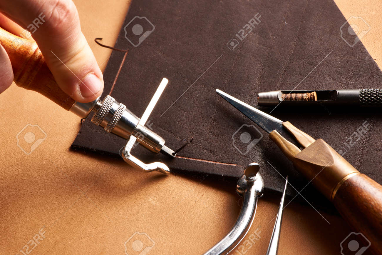 Leather crafting tools still life Stock Photo - 20603653