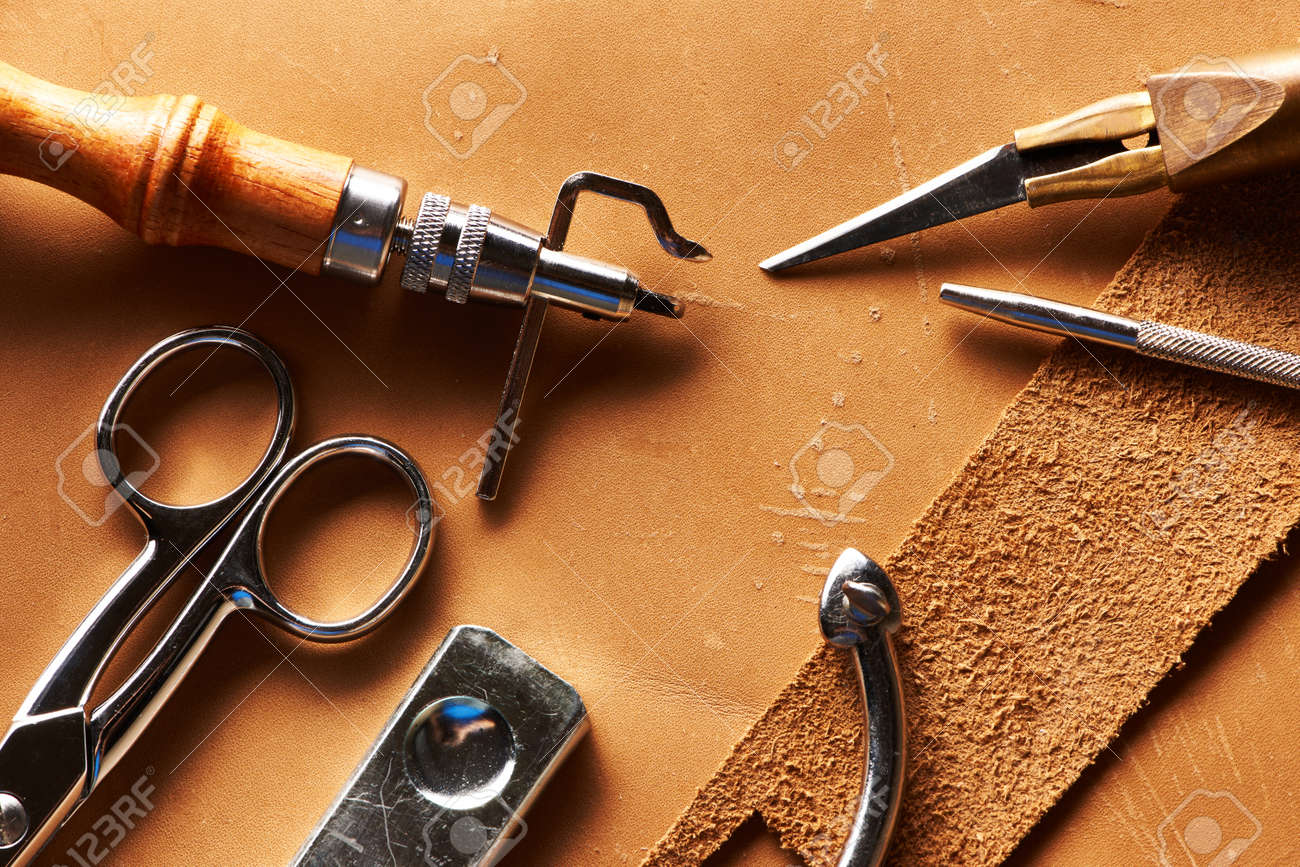 Leather crafting tools still life - 20603673