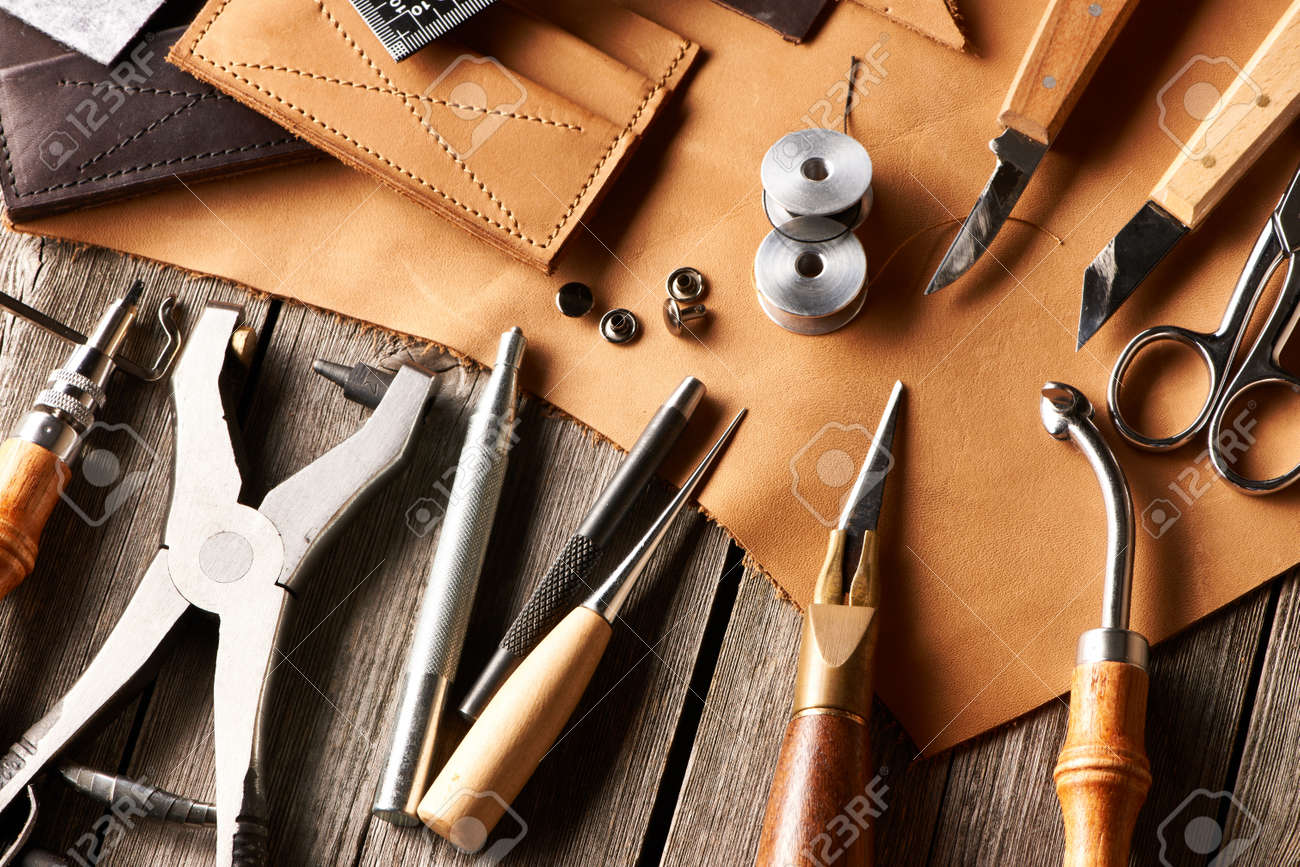 Leather crafting tools still life - 22142413