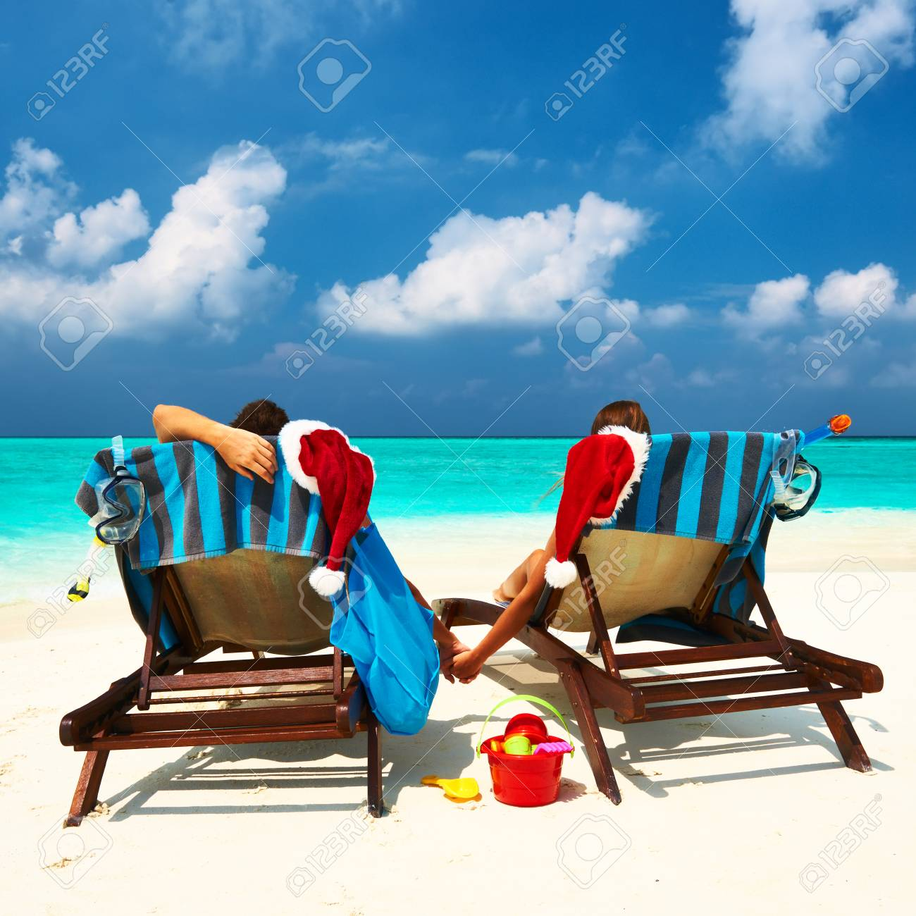 Couple on a tropical beach at Maldives Stock Photo - 22534261