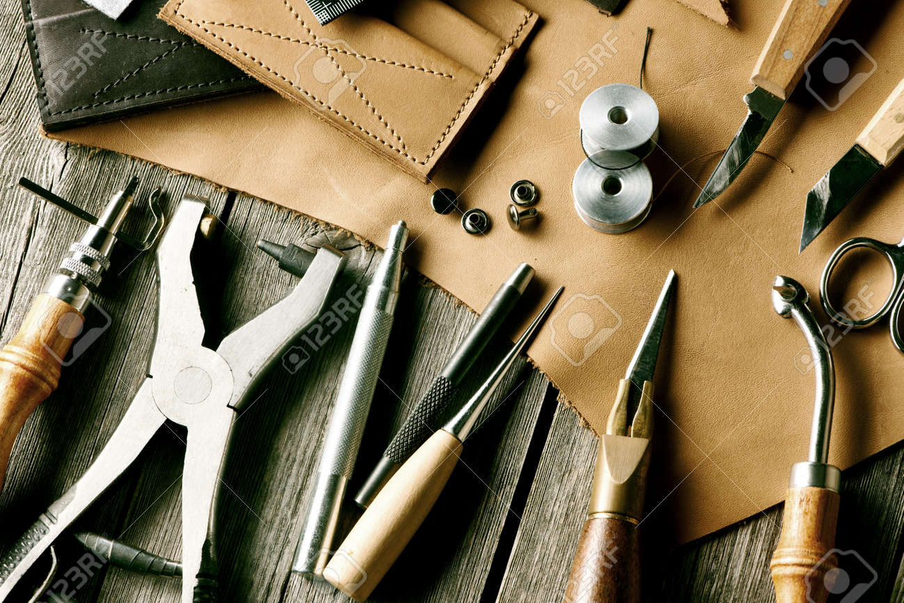 Leather crafting tools still life - 37598155