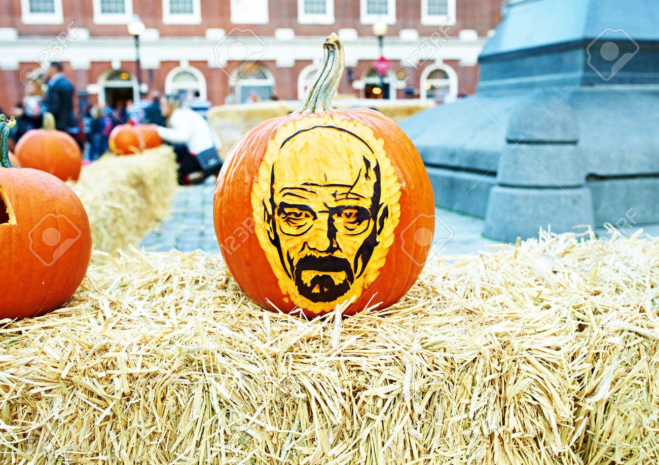 BOSTON, USA , OCTOBER 26 Great Pumpkin Party, halloween festival of  creative pumpkins