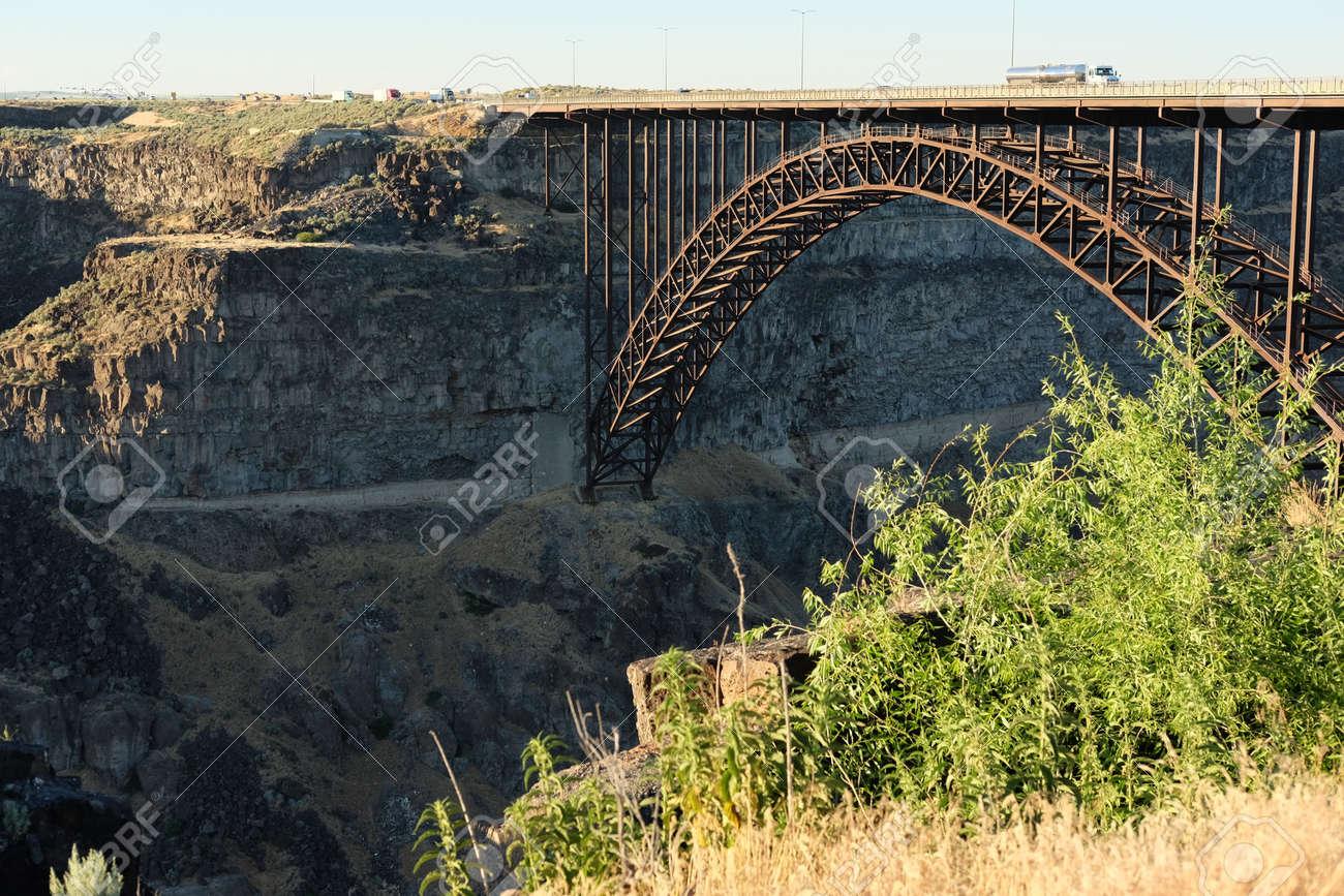 Snake River And Perrine Bridge Near Twin Falls Idaho Usa Stock