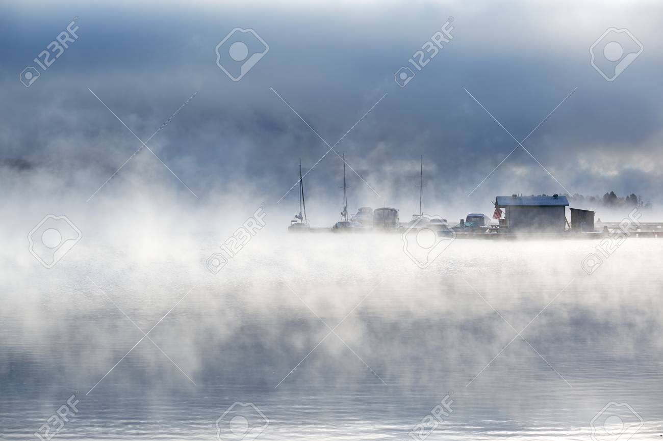 Morning Foggy Misty Landscape At Shadow Mountain Lake Rocky Stock