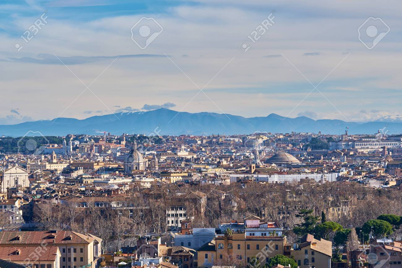 Rome Skyline View From Janiculum Terrace Terrazza Del Gianicolo