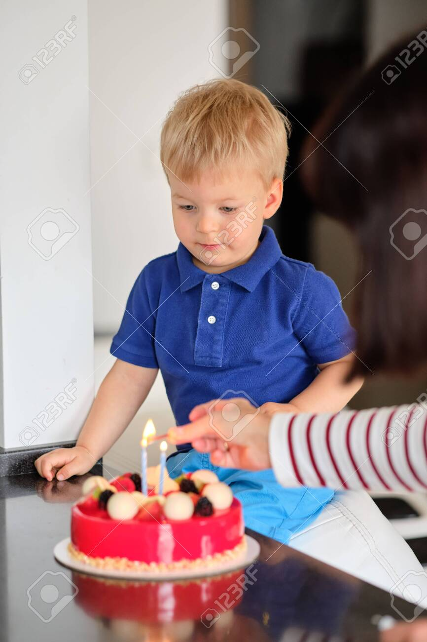 Fantastic Two Year Old Boy With Birthday Cake Stock Photo Picture And Funny Birthday Cards Online Inifodamsfinfo