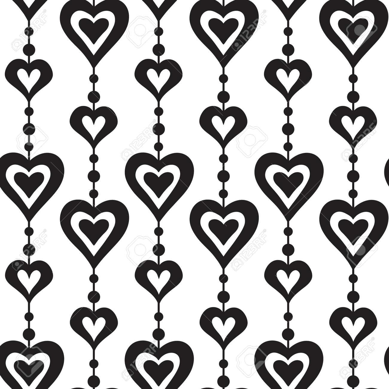 Corazones Y Perlas En Blanco Y Negro Vector Patrón Transparente