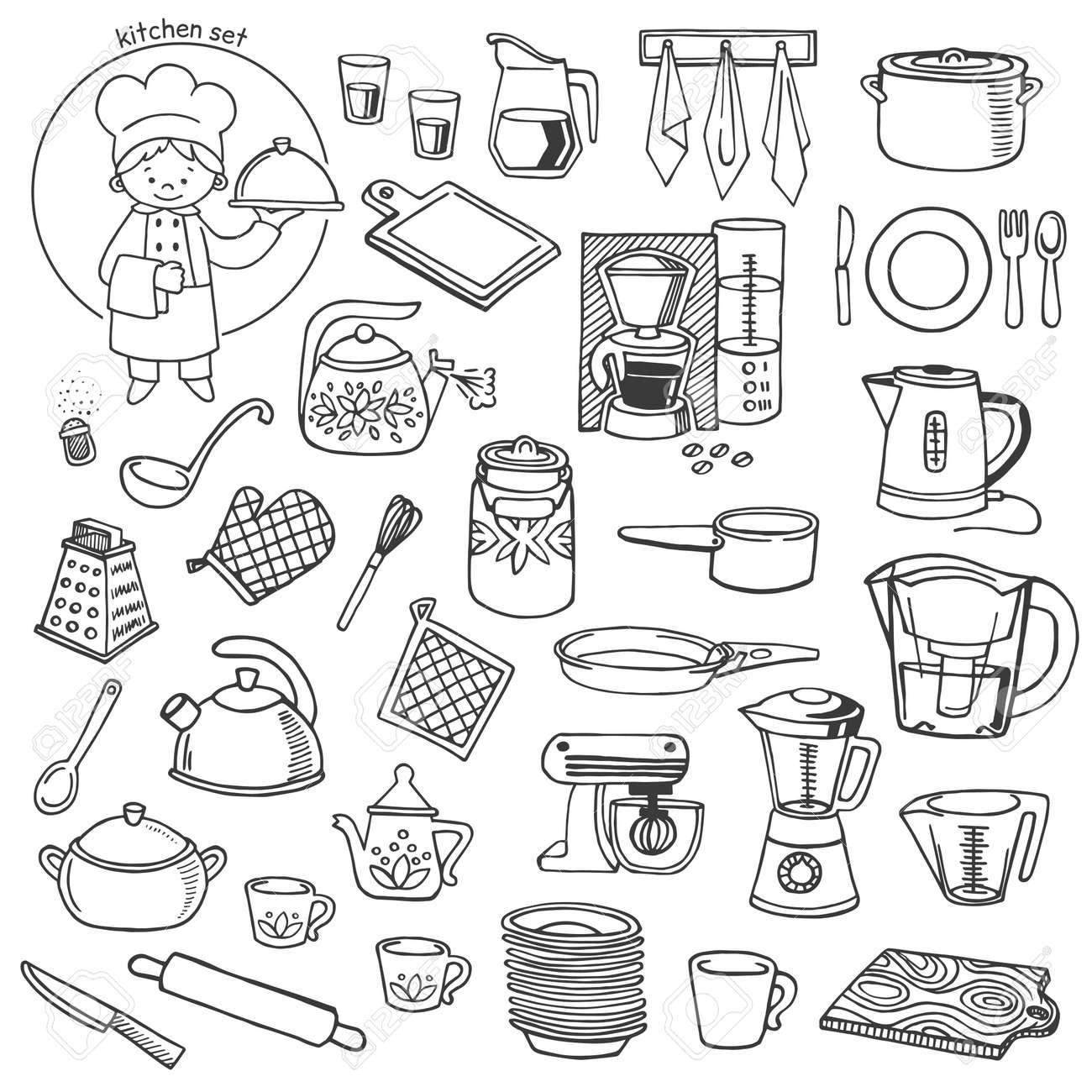 Kitchen Utensils And Appliances White And Black Vector Icons