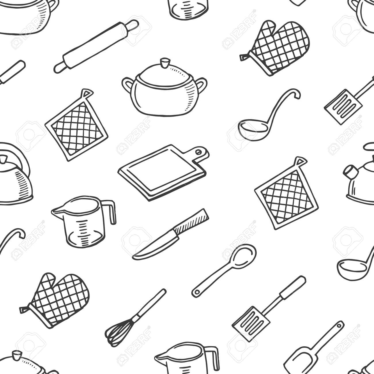 Cook\'s Tools White And Black Seamless Pattern. Kitchen Royalty Free ...