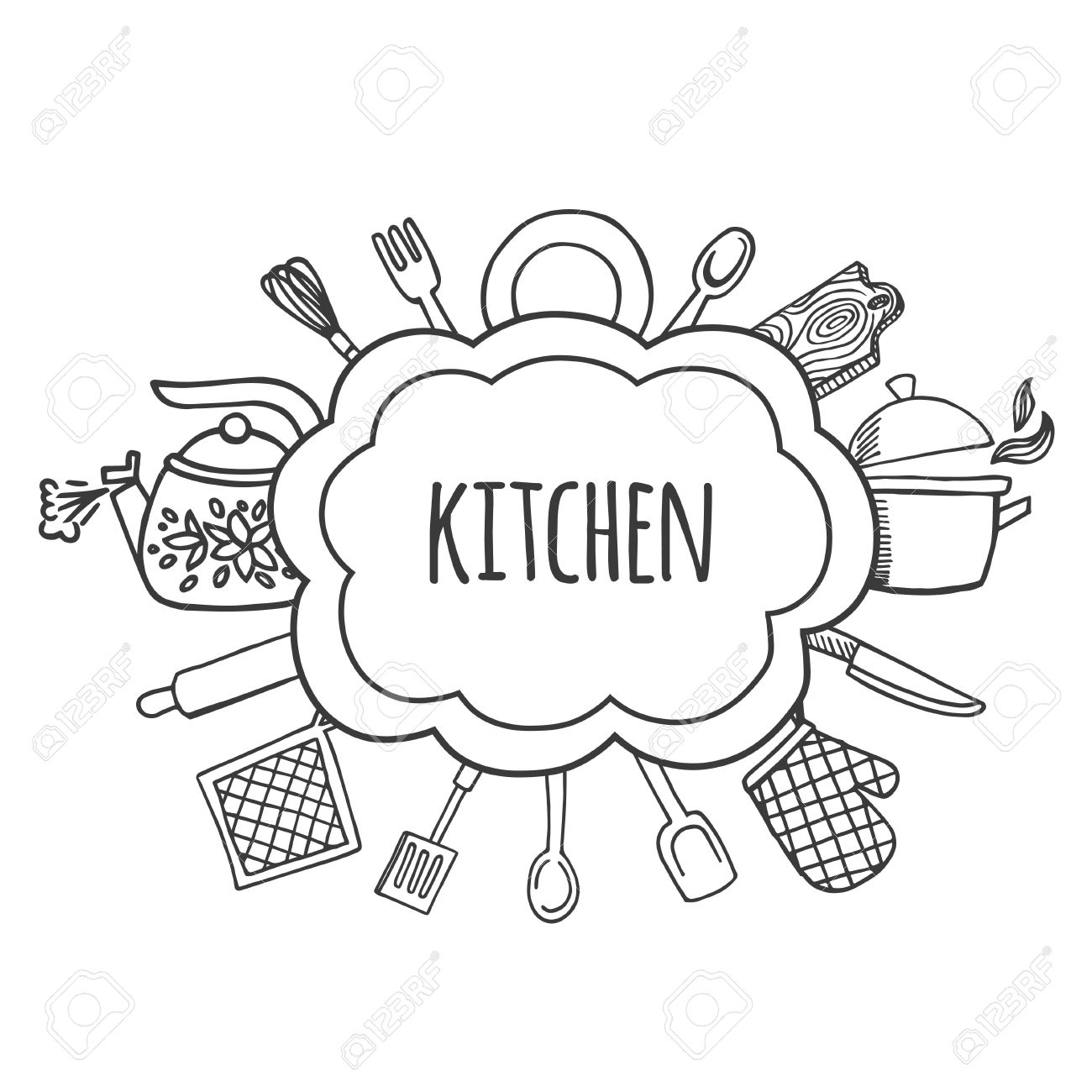 Kitchen tools drawing - Kitchen Tools Sketch Bubbles Vector Illustration Background Kitchen Stock Vector 52035577