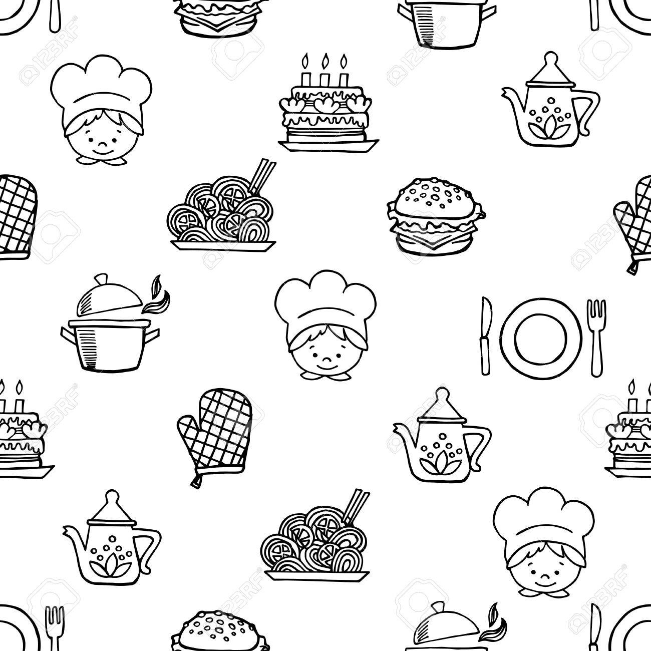 Food White And Black Seamless Pattern. Background Kitchen. Royalty ...