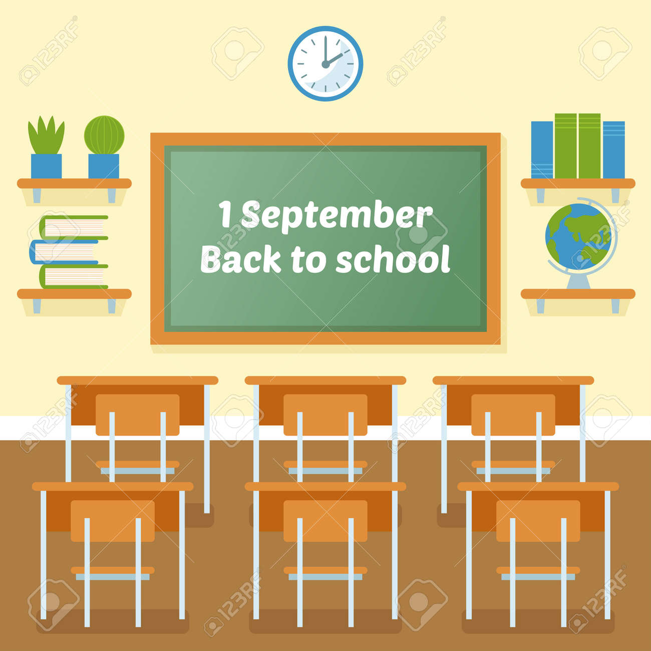 classroom table vector. school classroom with chalkboard vector flat illustration. 1 september. back to background. table f