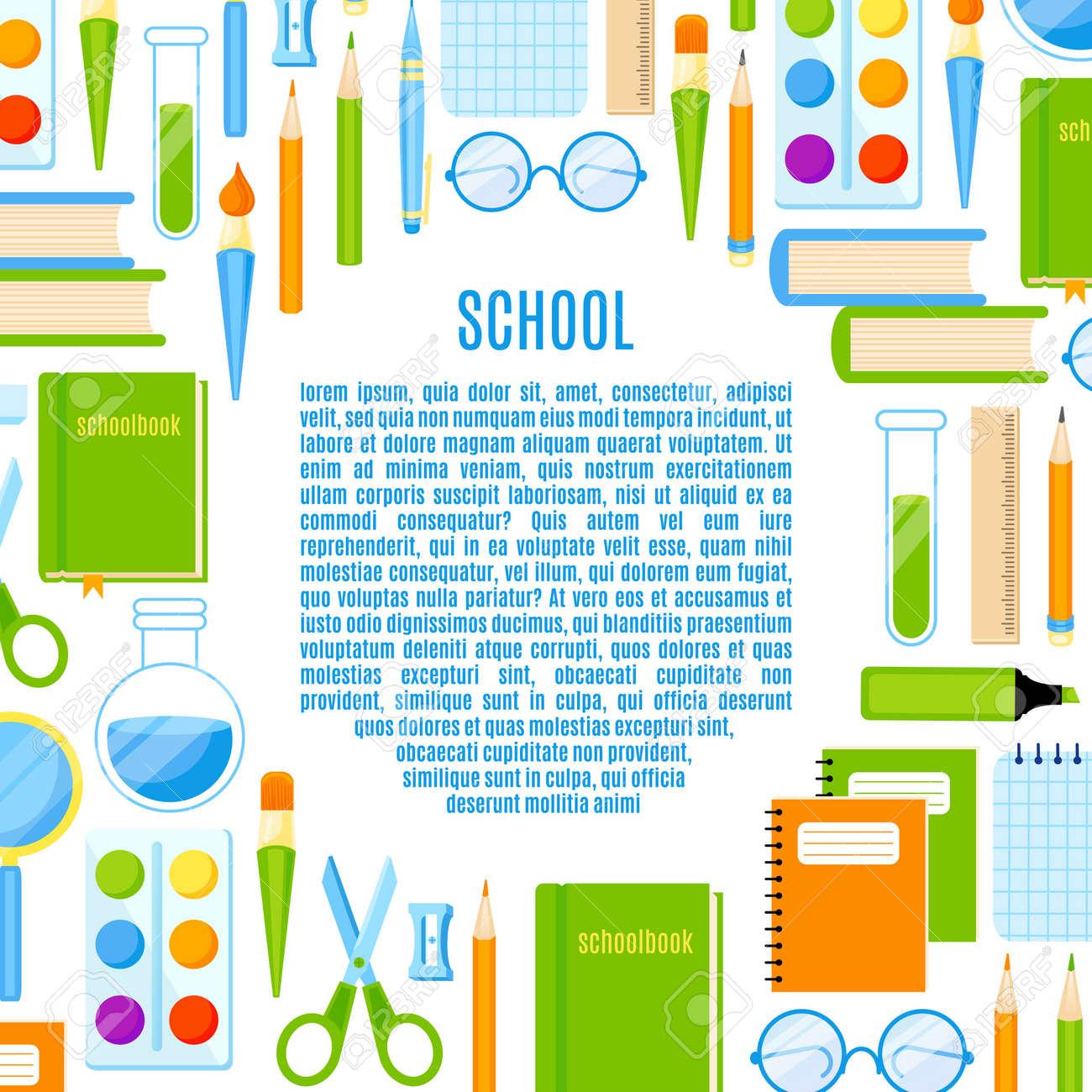 Marco De La Escuela Con El Diseño De útiles Escolares Vectorial ...