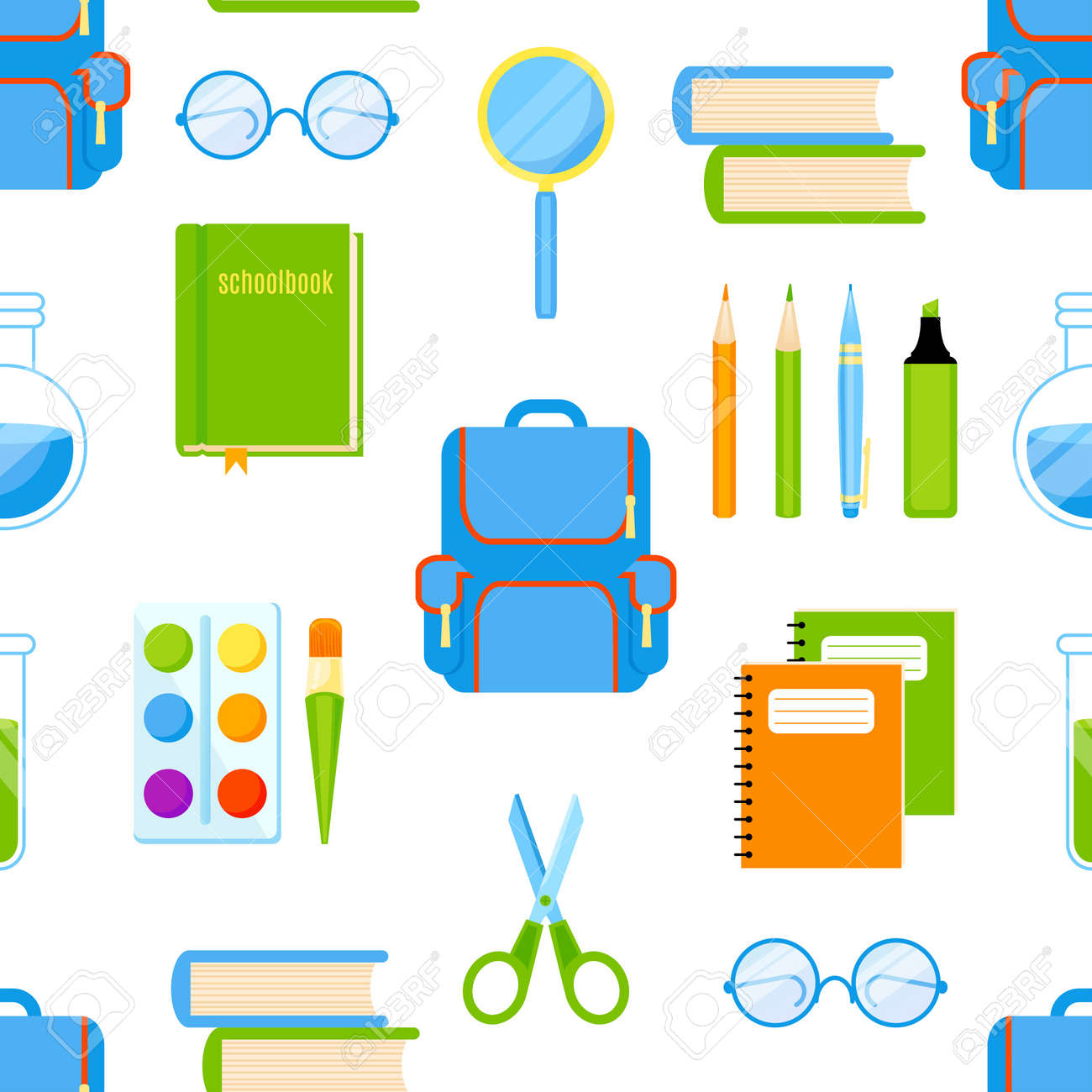School supplies vector seamless pattern  Back to school background