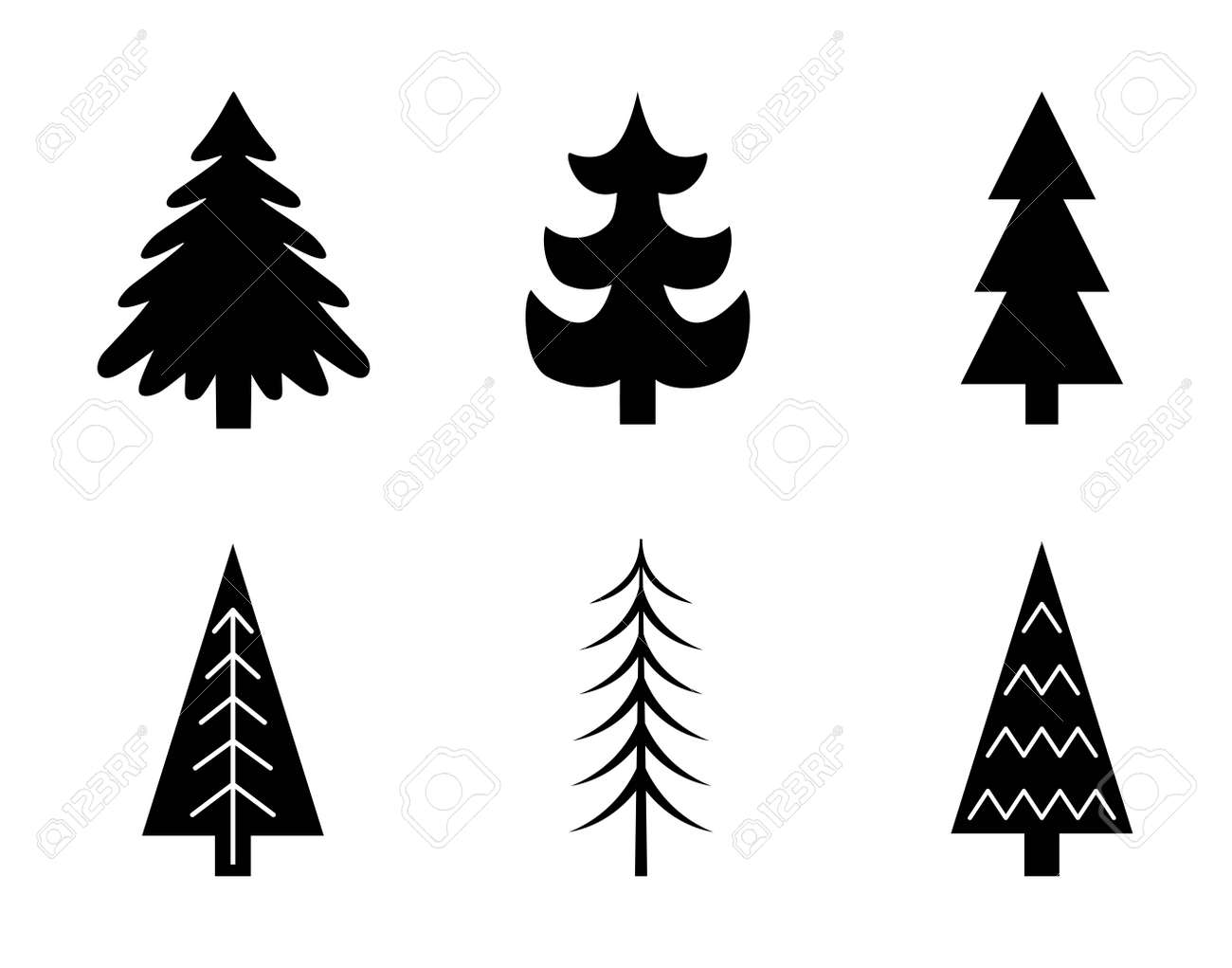 Christmas Tree Vector.Christmas Tree Vector Set Blue Tree Vector