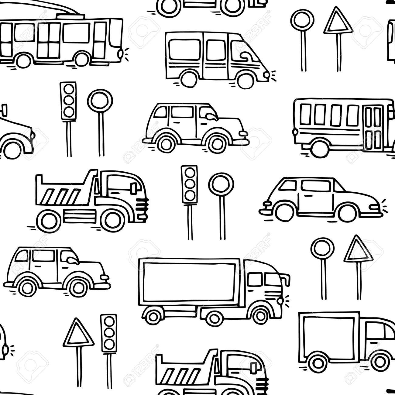 Modelo Inconsútil De Transporte Urbano Dibujo Vectorial Transporte