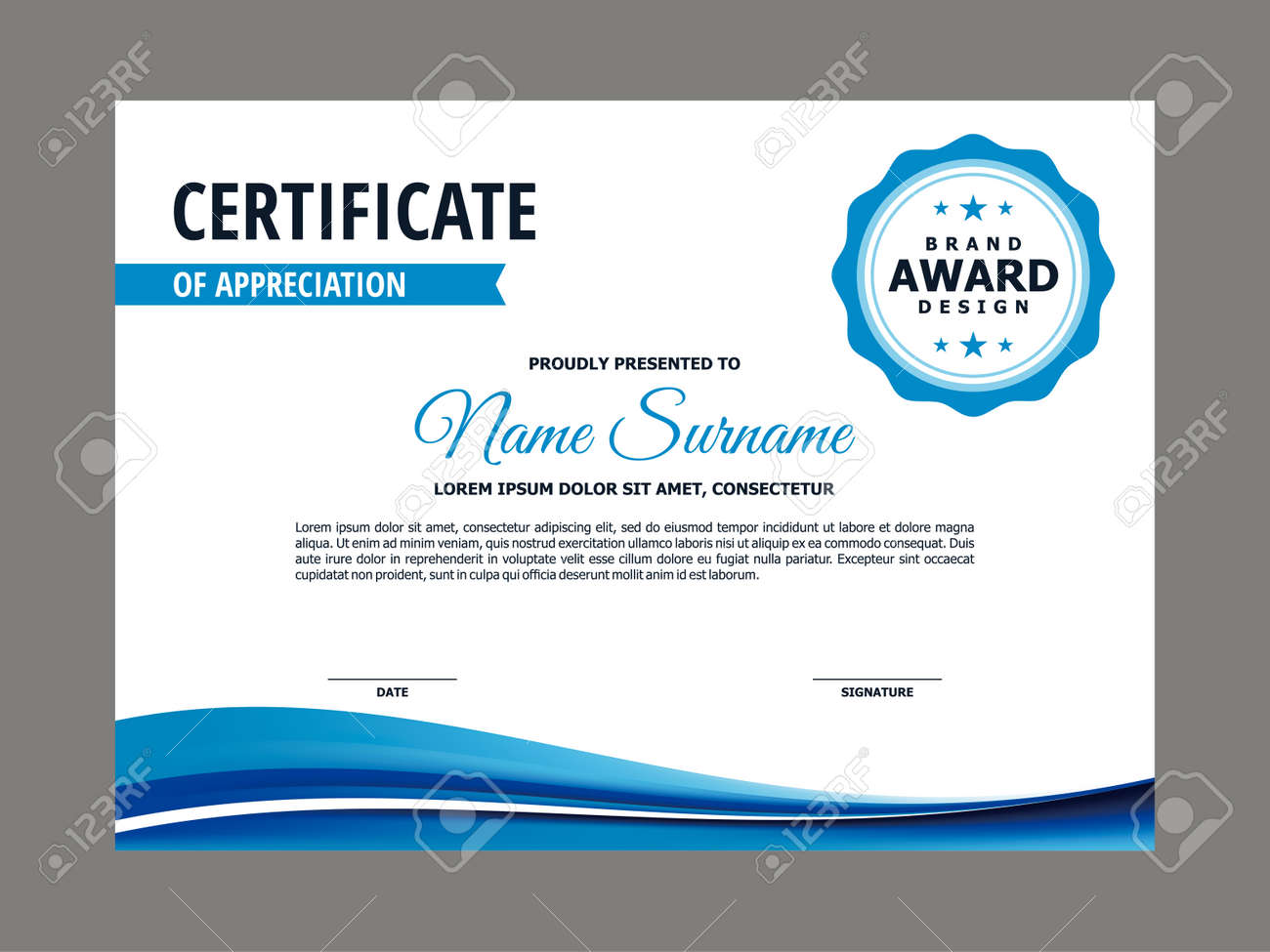 Abstract Smooth Certificate with Blue Wavy Element Design, Professional, Modern, Elegant Certificate with Fresh Flowing Mesh Gradient Background Template Vector - 166850192