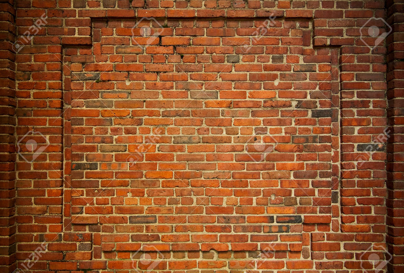 Good Old Brick Wall With Decorative Bricks Forming An Internal Frame Stock Photo    10355628