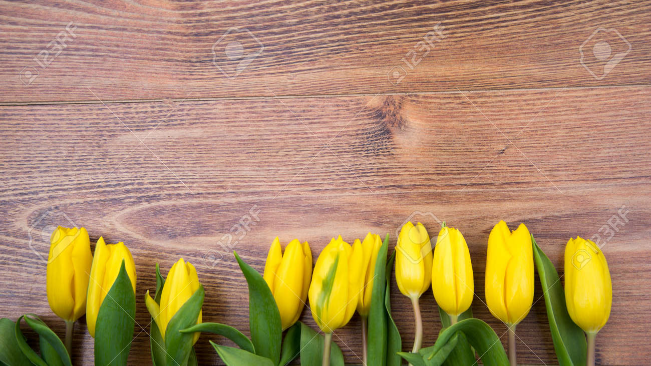 Bouquet of yellow tulips on a wooden background. Spring flowers. Mother's Day background. - 165152729