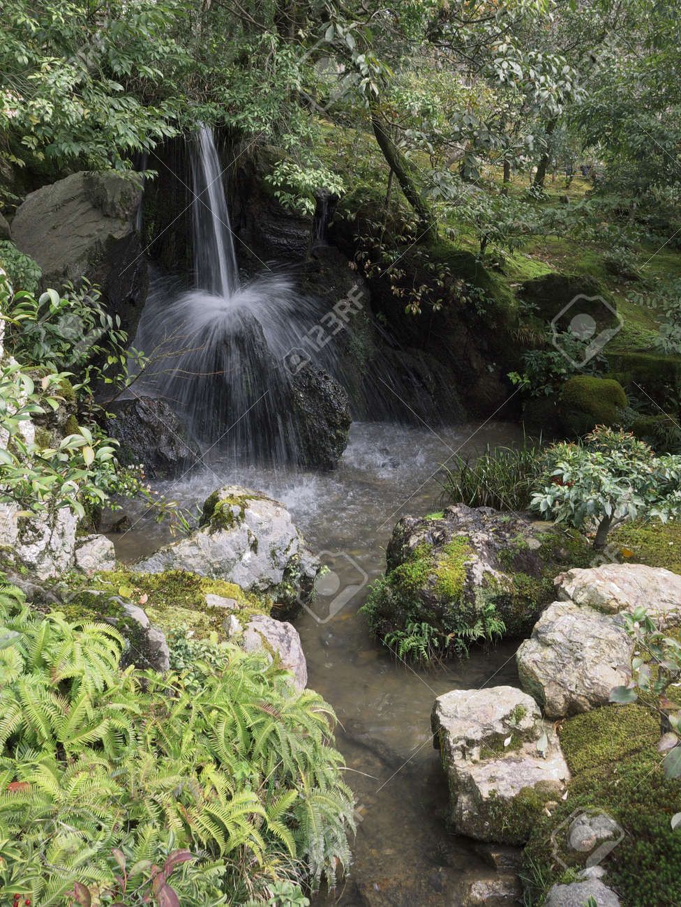 Mini Waterfall In A Japanese Garden Stock Photo   13270241