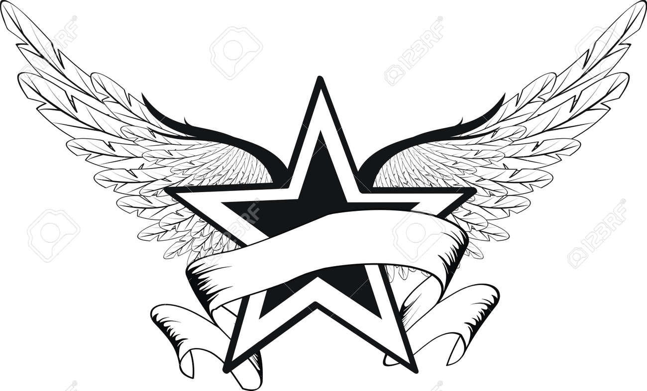 winged star in vector format royalty cliparts vectors and vector winged star in vector format