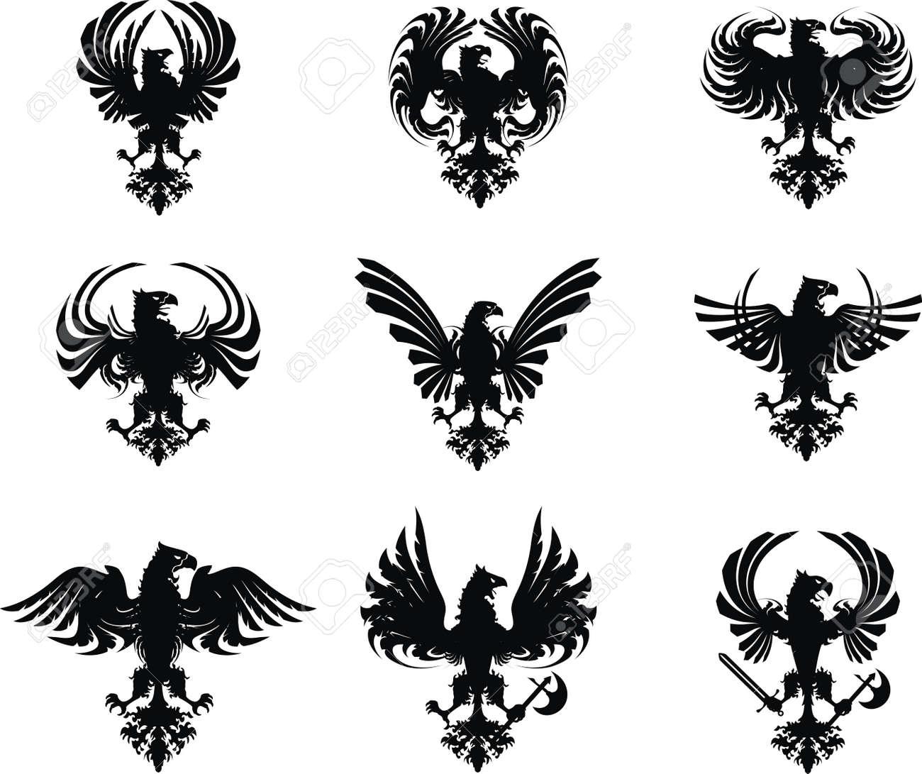 heraldic eagle coat of arms set Stock Vector - 8266038