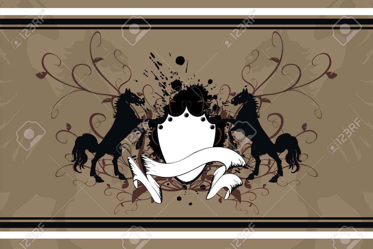heraldic horse background Stock Vector - 8495400